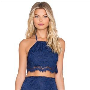 For Love and Lemons Maui lace halter top zip up
